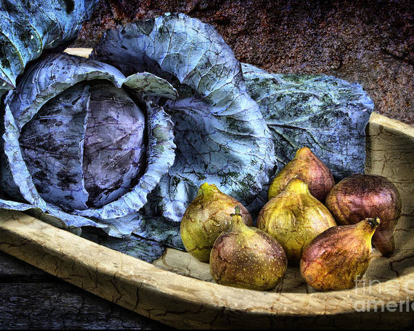 Still Life Poster featuring the photograph Cabbage And Figs by Sari Sauls