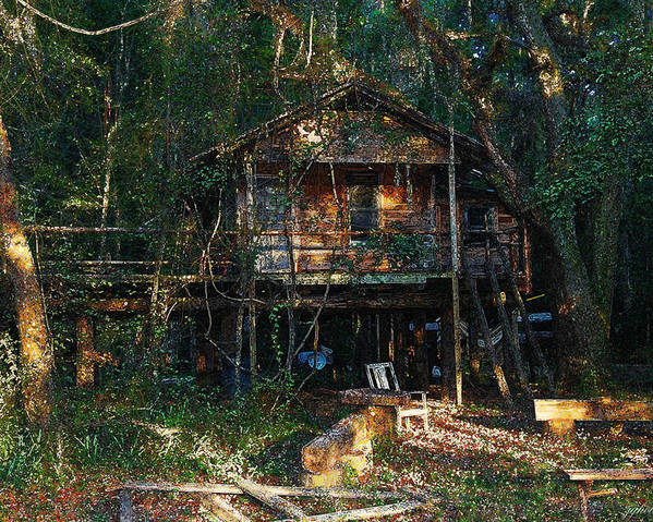 Log Cabin Poster featuring the digital art Cabin Fever Watercolor by Joseph G Holland