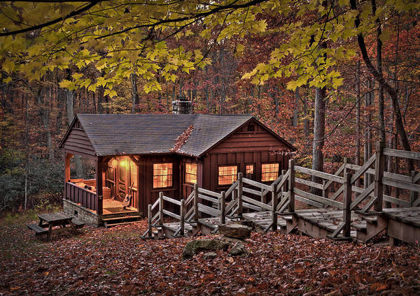 Babcock Poster featuring the photograph Cabin In The Woods by Williams-Cairns Photography LLC