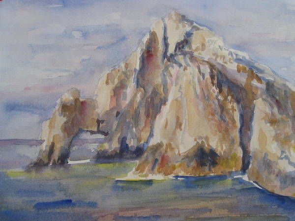 Landscape Poster featuring the painting Cabo Arch by Joyce Kanyuk