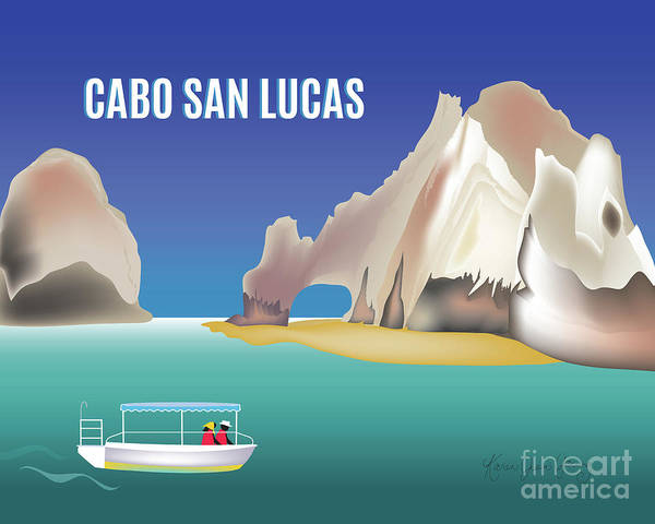 Cabo San Lucas Poster featuring the digital art Cabo San Lucas Mexico Horizontal Scene by Karen Young
