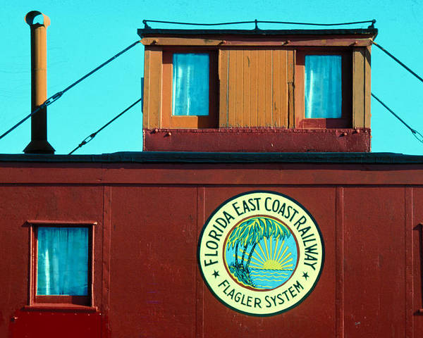 Florida Keys Train Railroad Poster featuring the photograph Caboose by Carl Purcell