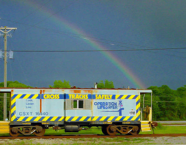 Pat Turner Poster featuring the photograph Caboose N Rainbow by Pat Turner