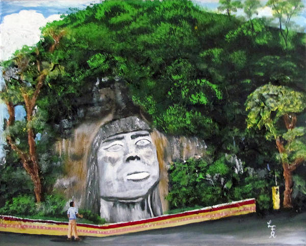 Cacique Mabodomaca Poster featuring the painting Cacique Mabodomaca by Luis F Rodriguez