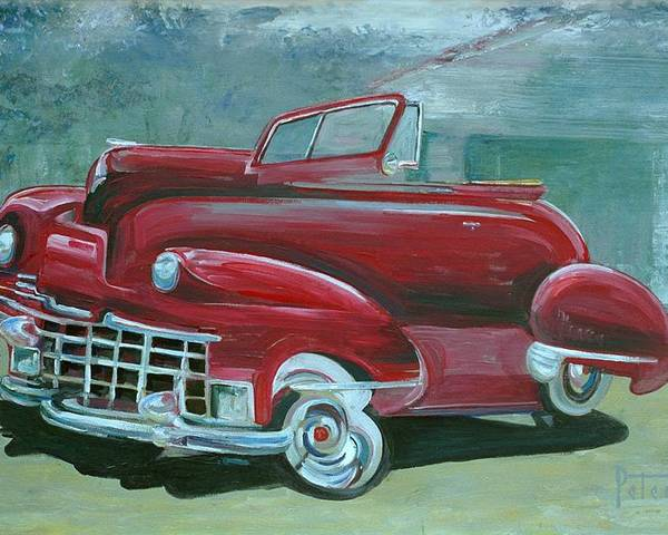 1947 Cadillac Poster featuring the painting Cadillac 47 by Gary Peterson