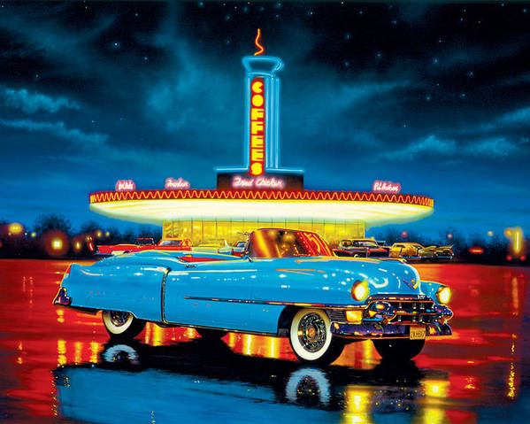 Car Poster featuring the photograph Cadillac Diner by MGL Studio - Chris Hiett