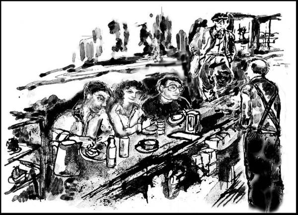 Cafe Poster featuring the digital art Cafe Scene by Lily Hymen