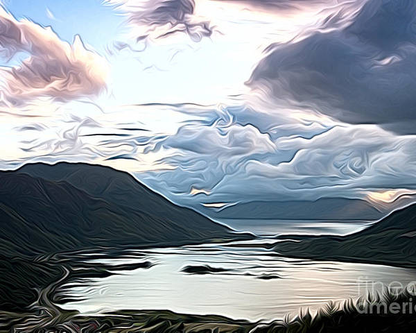 Cairngorn Scenic Cairngorm Landscape Mountains Lakes Scene Moody Art Artwork Oil Cairngorm Poster featuring the photograph Cairngorms by Andrew Michael