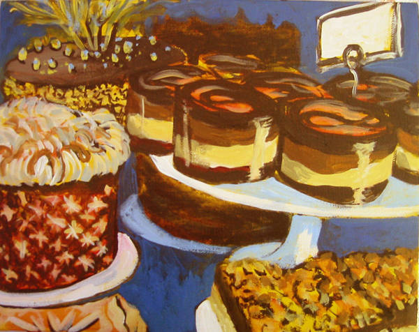 Cake Poster featuring the painting Cake Case by Tilly Strauss