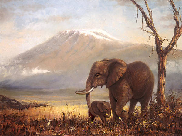 Amboseli Poster featuring the painting Calf Love by Silvia Duran