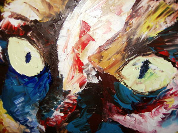 Painting.oil.acrylic Poster featuring the painting Calico Cat Face by Adeniyi Peter