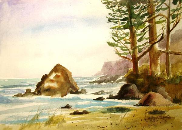Watercolor Poster featuring the painting California Coast by Larry Hamilton