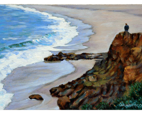 Landscape Poster featuring the painting California off Hwy One by John Lautermilch