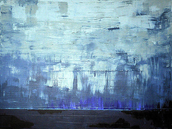 Abstract. Blue Poster featuring the painting Calm Before by Kate Tesch