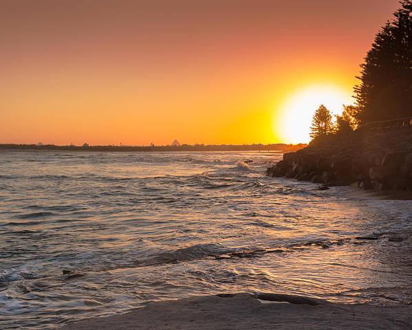 Australia Poster featuring the photograph Caloundra Beach Sunset by Jukka Heinovirta