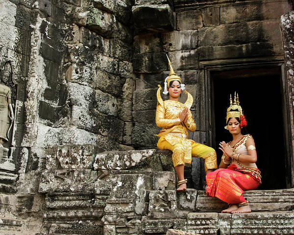 Asia Poster featuring the photograph Cambodian Dancers At Angkor Thom by Michele Burgess