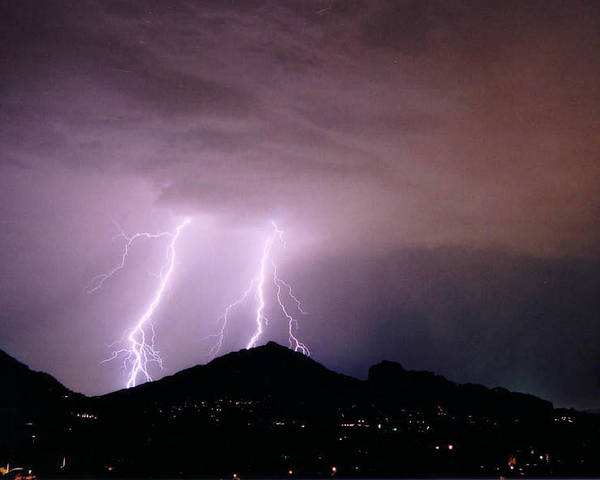 Lightning Poster featuring the photograph Camelback Scratch by Cathy Franklin