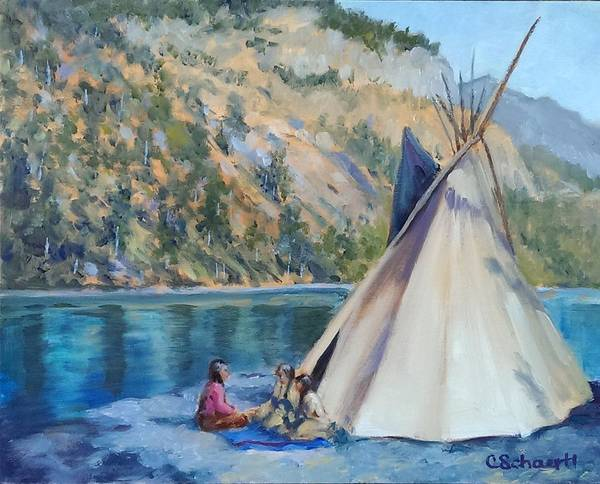 Tipi Poster featuring the painting Camp By The Lake by Connie Schaertl