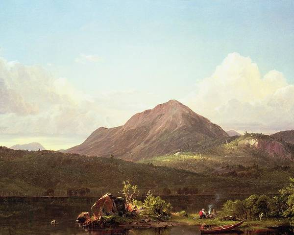 Camp Fire In The Maine Wilderness (oil On Canvas) By Frederic Edwin Church (1826-1900) Poster featuring the painting Camp Fire In The Maine Wilderness by Frederic Edwin Church