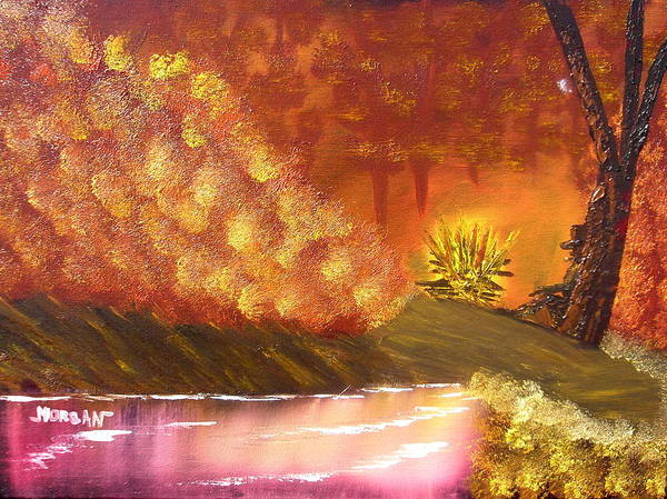 Campfire Sceneat Vthe End Of The Day Poster featuring the painting Campfire by Sheldon Morgan