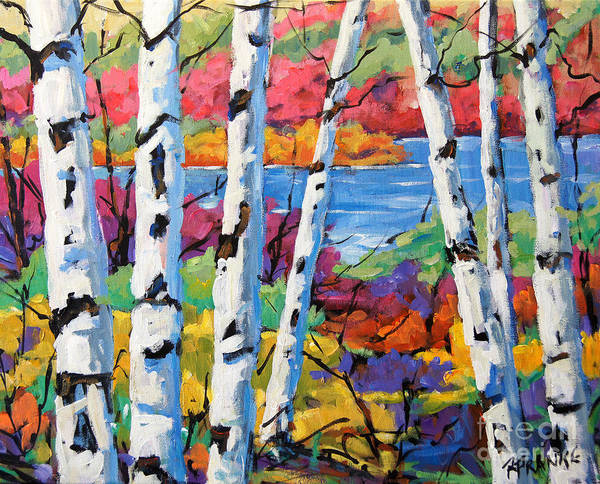 Canadian Landscape Created By Richard T Pranke Poster featuring the painting Canadian Birches By Prankearts by Richard T Pranke