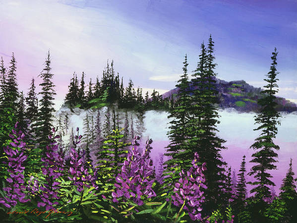 Mountains Poster featuring the painting Canadian Sunrise by David Lloyd Glover