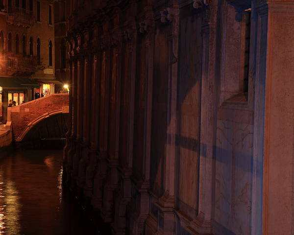 Venice Poster featuring the photograph Canal By The Church Of The Miracoli In Venice At Night by Michael Henderson