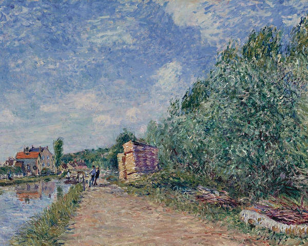 Alfred Sisley Poster featuring the painting Canal Du Loing-chemin De Halage by Alfred Sisley