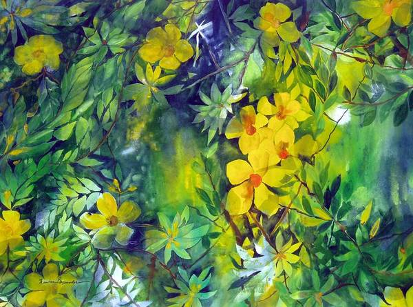 Tropical Plant. . Poster featuring the painting Canarias by Maritza Bermudez