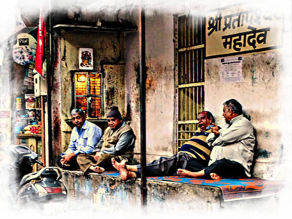 Hanging Out Poster featuring the photograph Candid Bored Yawn Pj Exotic Travel Blue City Streets India Rajasthan 1a by Sue Jacobi