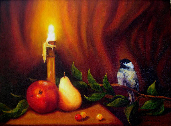 Chickadee Poster featuring the painting Candle Light Melody by Valerie Aune