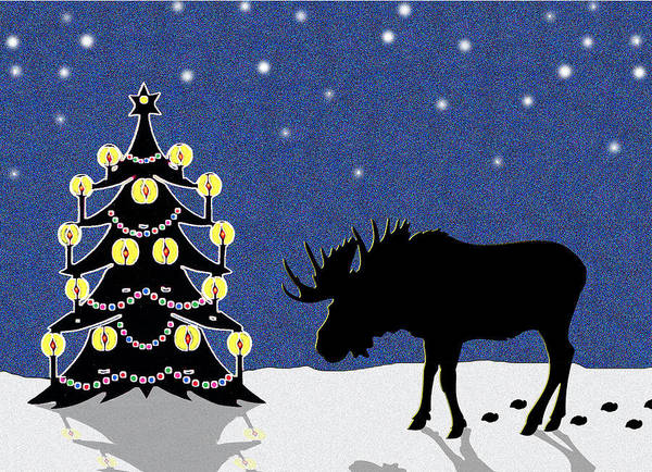 Moose Poster featuring the digital art Candlelit Christmas Tree And Moose In The Snow by Nancy Mueller