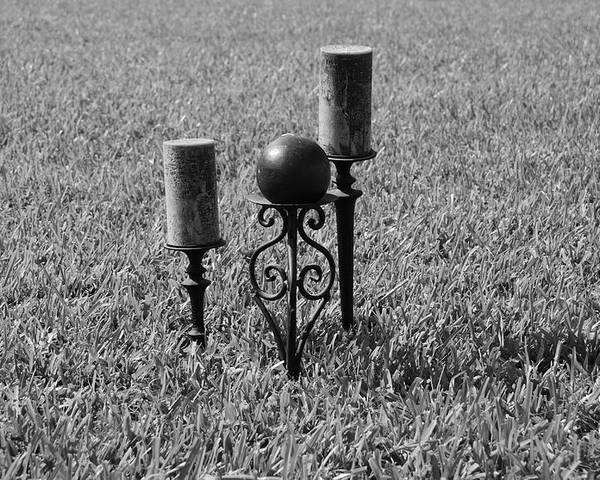 Black And White Poster featuring the photograph Candles In Grass by Rob Hans