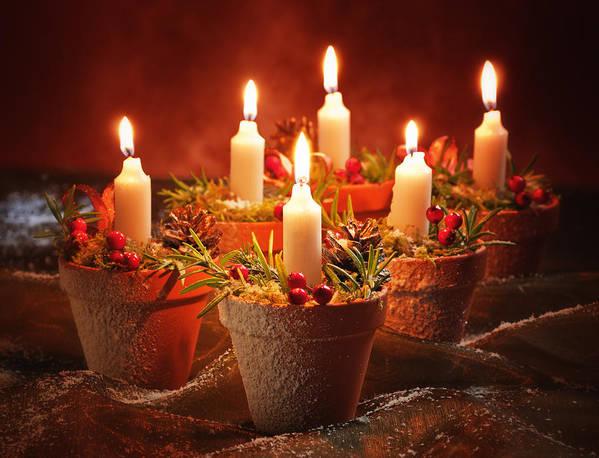 Christmas Poster featuring the photograph Candles In Terracotta Pots by Amanda Elwell