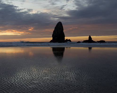 Cannon Beach Poster featuring the photograph Cannon Beach At Sunset 7 by Bob Christopher