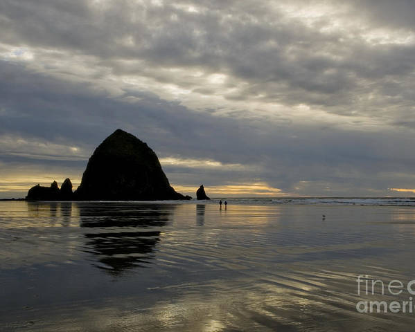 Cannon Beach Poster featuring the photograph Cannon Beach Reflections by Bob Christopher