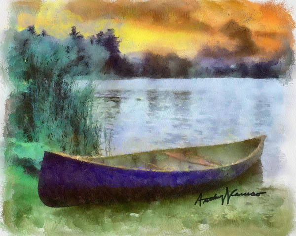 Canoe Poster featuring the painting Canoe by Anthony Caruso