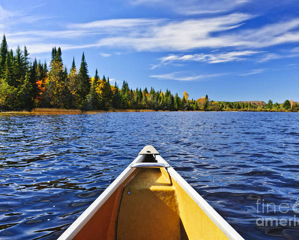 Canoe Poster featuring the photograph Canoe Bow On Lake by Elena Elisseeva