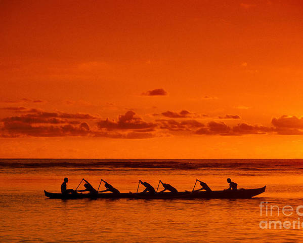 A13h Poster featuring the photograph Canoe Paddlers by Joe Carini - Printscapes