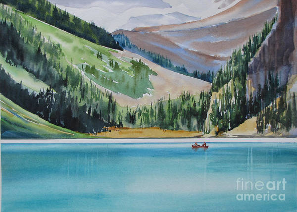 Canoe Poster featuring the painting Canoeing-in-lake-louise by Nancy Newman