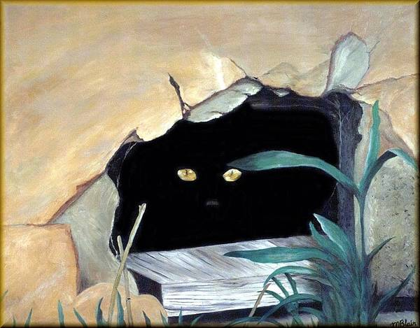 Cats Poster featuring the painting Can't See Me by Merle Blair