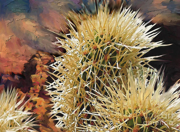 Canyon Poster featuring the painting Canyon Cactus by Bob Salo
