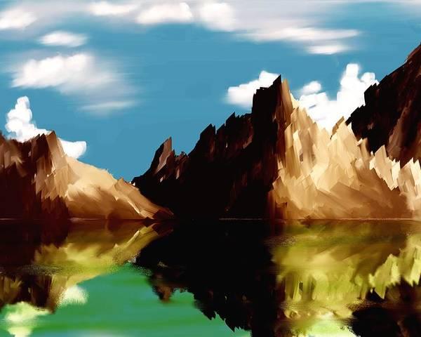 Digital Art Poster featuring the digital art Canyon Lake by David Lane