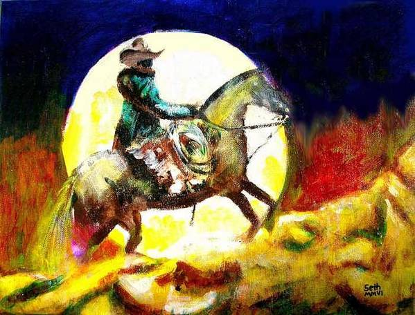 Canyon Moon Poster featuring the painting Canyon Moon by Seth Weaver
