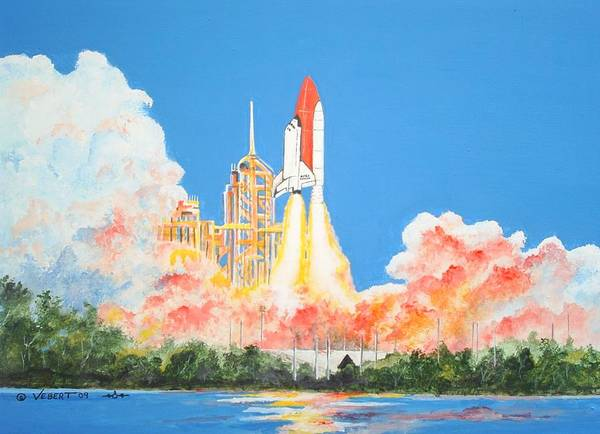 Space Poster featuring the painting Cape Canaveral by Dennis Vebert