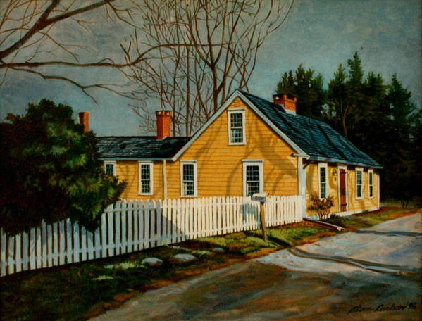 Home Poster featuring the painting Cape Cod Home1700s by Alan Carlson