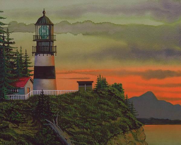 Cape Disappointment Lighthouse Poster featuring the painting Cape Disappointment by James Lyman