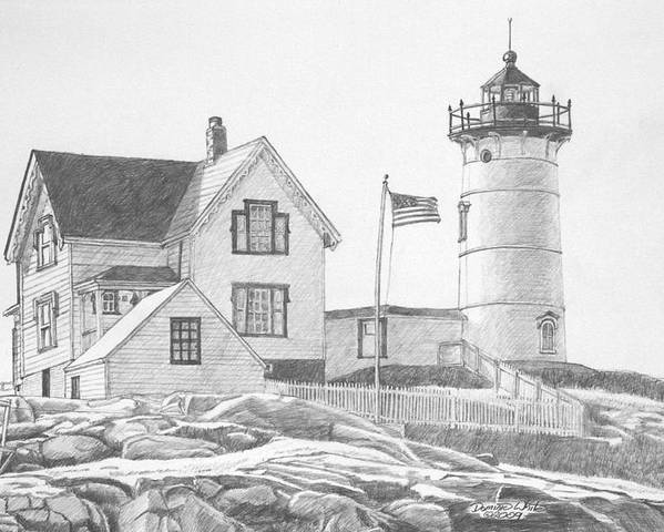 Lighthouse Poster featuring the drawing Cape Neddick Light House Drawing by Dominic White