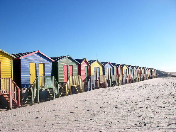 Cape Town Poster featuring the photograph Cape Town Beachhuts by Linda Russell