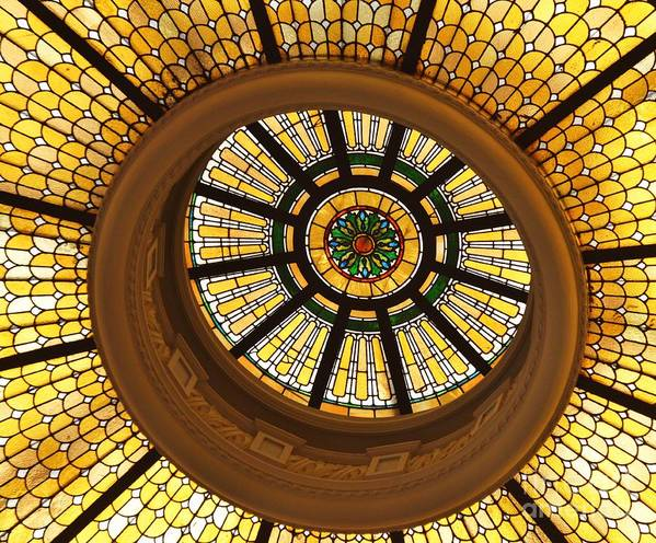 Stained Glass Dome Yellow Architectural Glass Tiffany Style Historic Building Bank Whimsical Dramatic National Register Of Historic Buildings Circles Baltimore Iconic Image Capital One Bank Building Metal Frame Canvas Print Poster Print Available On Tote Bags T Shirts Shower Curtains Throw Pillows Duvet Covers Round Beach Towels Weekender Tote Mugs And Phone Cases Poster featuring the photograph Capital One Bank Dome Close Up by Poet's Eye